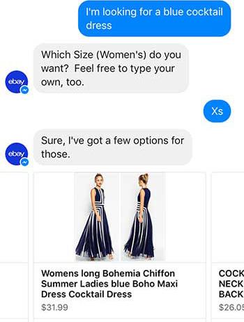 eBay ShopBot Natural Language Processing Dialog Systems Chatbot Facebook Messenger